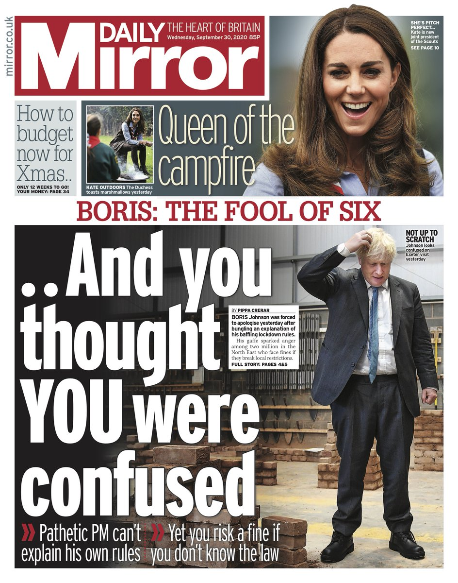 Daily Mirror Front Page 30th of September 2020 - Tomorrow ...