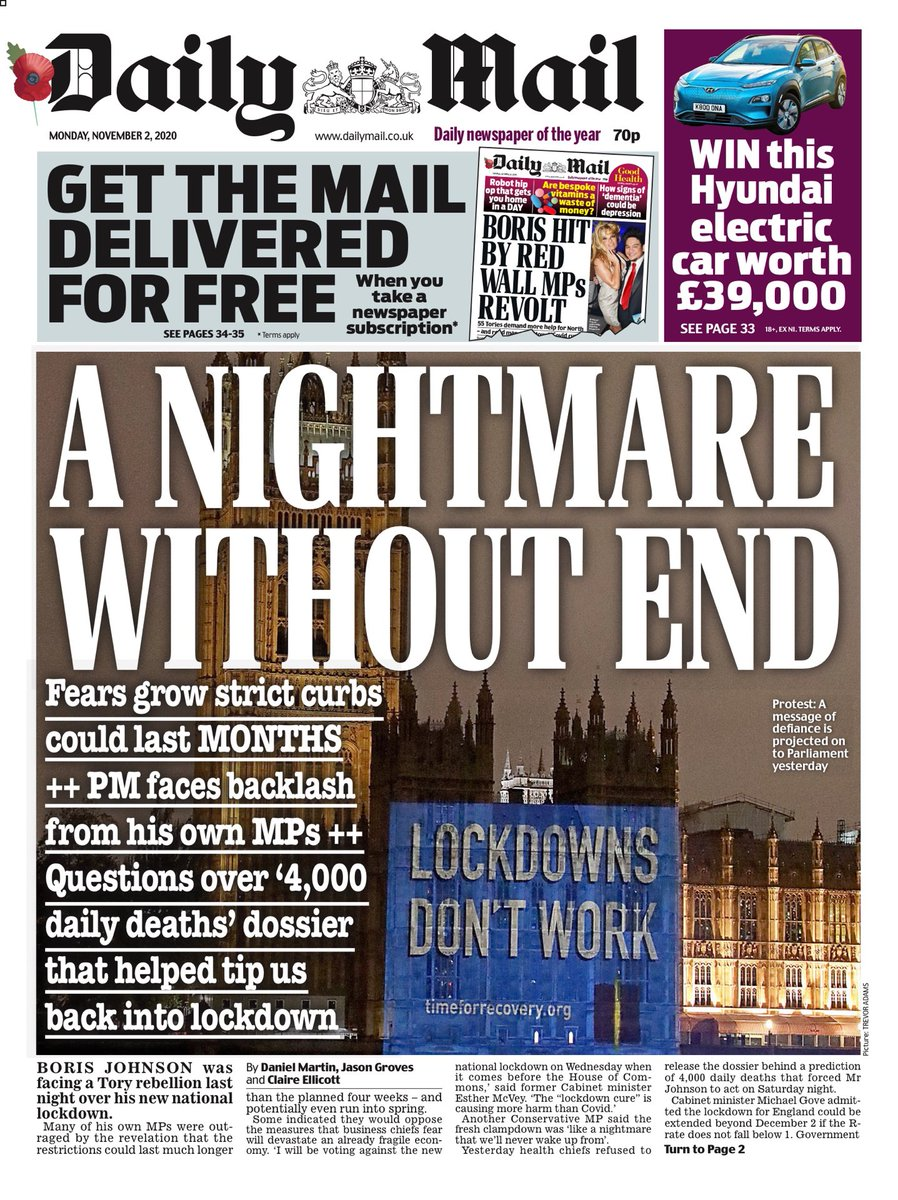 Daily Mail Front Page 2nd of November 2020 - Tomorrow's Papers Today!