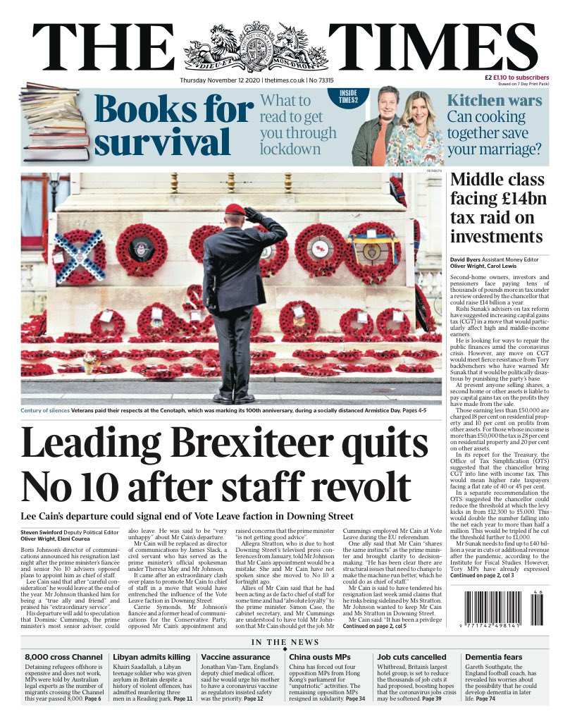 Times Front Page 12th Of November 2020 Tomorrow S Papers Today